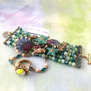 Betsey J 'Into The Blue' Ring/Bracelet  NWT/RARE!